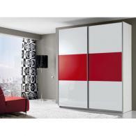 Гардероб с плъзгащи врати от пдч в бяло и червено